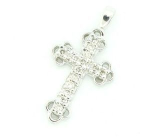 Jewelry - 14k White Gold Petite Spaded Diamond Cross Pendant